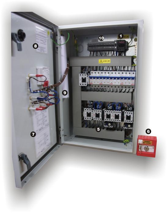 Smoke extract control panel inside
